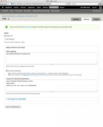 CDN settings: 'Details' tab