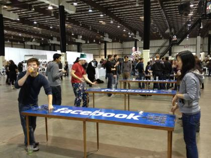 Facebook-branded beer pong at Snowville