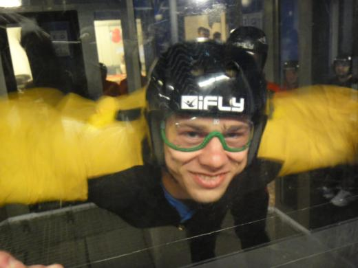 23-year old me doing indoor skydiving
