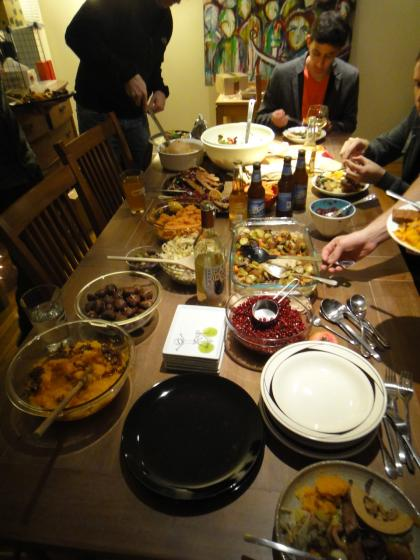 A chock-full table for an awesome, vegan Thanksgiving dinner!